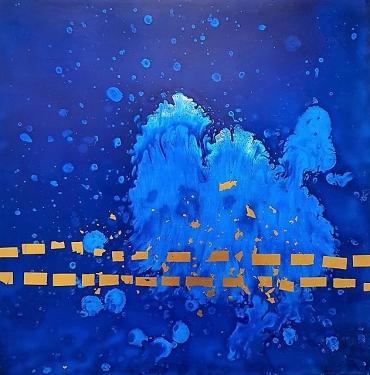 Hydro-laque, feuille d'or sur toil, 30×30cm 2017