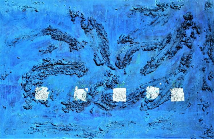 HUH Sophie Eunsun. Abri de l_âme. Technique mixte, feuille d'argent. 130x160cm. 2015