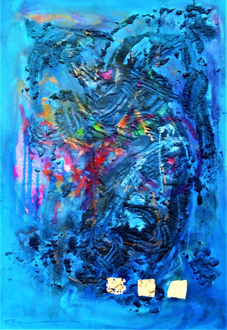 HUH Sophie Eunsun. Disponibilité de l_esprit. Technique mixte, feuille d'or. 130x160cm
