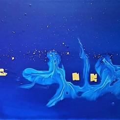 Intimité de l'eau 27. Hydro-laque sur toile, 25×75.2019
