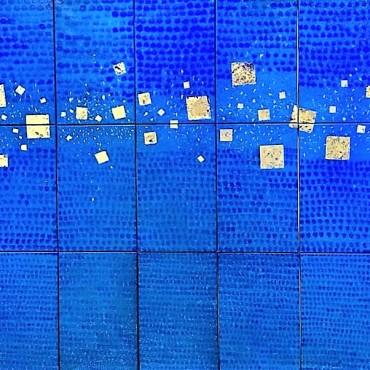 Intimité de l'eau 5. Tecnique mixt, feuille d'or sur toile. 266×183cm. 2018