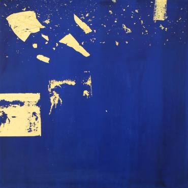 La Lumiere de l'ombre 3. Hydro-laque, feuille d'or sur toile. 50×50cm. 2018