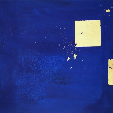 La Lumiere de l'ombre 4. Hydro-laque, feuille d'or sur toile. 50×50cm. 2018